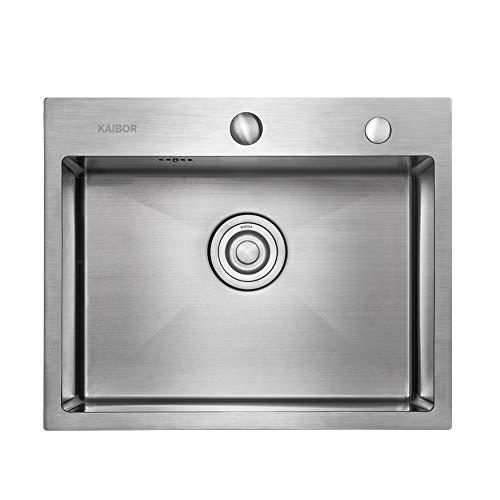 Moderno lavello da cucina in acciaio inox per mobile base 60 cm, lavello quadrato 55 cm x 45 cm per montaggio a parete o ad incasso - finitura satinat