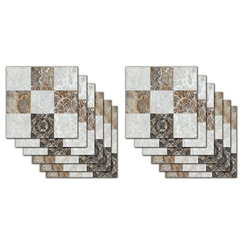 WANGTAO001 12pcs Pegatinas de Baldosas, 3D Mosaico Azulejos Papel Pintado Autoadhesivo Impermeable Etiqueta de la Pared para Cocina Backplash Baño, 7.87 * 7.87 Pulgadas (Color : G)