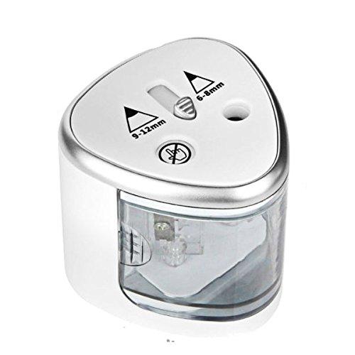 Zeerkeer Elektrische Potloodslijpers, Dubbele Gaten Automatische Potloodslijper met Auto-Stop Feature, Draagbare Dual Hole Potloodslijpers voor 6-8mm en 9-12mm Potloden, Batterij Bediend ZILVER