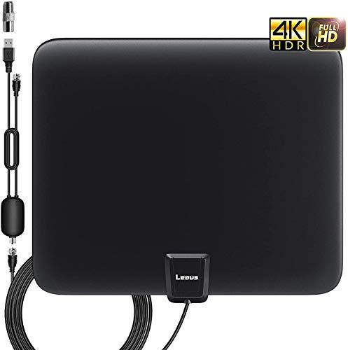 Antena de TV de interior con alcance máximo de 130 millas, integrada de amplificador de señal, 4K 1080P Ultra HD señal más potente, VHF/UHF-FM y cable coaxial de 13.2 FT