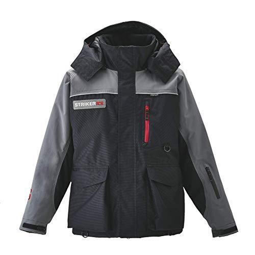 Striker Ice Men's Cold Weather Fishing Waterproof Trekker Jacket, Black/Gray, Medium