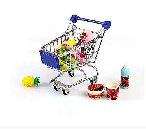 ANNIUP Mini carrito de la compra, carrito de supermercado, cesta de almacenamiento para maquillaje, estante de metal inoxidable para decoración de escritorio