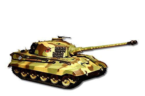 ES-TOYS RC Panzer mit Schussfunktion Deutscher Königstiger - Henschelturm 1:16 Heng Long mit Rauch und Sound, Metallgetriebe+Metallketten+2,4Ghz -PRO