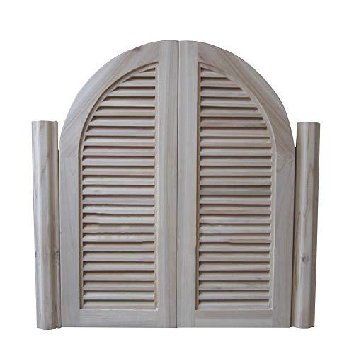 Cafe Puertas Contrapuertas Interior Prefabricado Louvered Puerta batiente de salón con Pivote de Gravedad Bisagras Auto Cerrado Puerta de partición Diseño de Arco, 22 tamaño