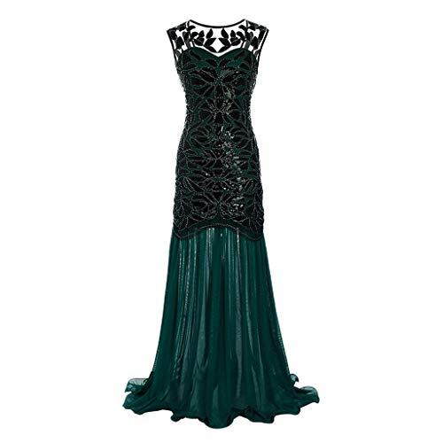 Lazzboy Damen Abendkleid 20er Jahre Kleid Pailletten Maxi Langes Ballkleid(Grün,S)