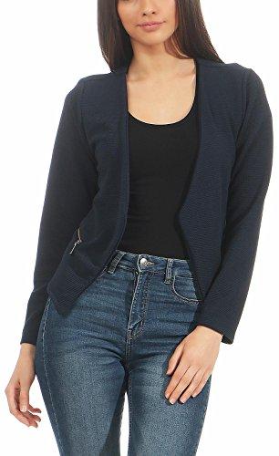 malito more than fashion Malito Damen Blazer ohne Kragen | Sakko im Basic Look | Kurzjacke mit Zipper | Jacke - Jackett - Blouson 6040 (dunkelblau, XL)