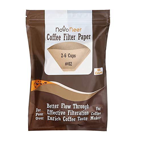 Novoneer 100 Stück Papier Kaffeefilter, Filtertüten in Naturbraun, Größe 02 (1 Pack)
