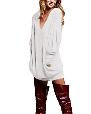 ZANZEA Women's V Neck Long Sleeve Loose Baggy Jumper Tunic Tops Mini Dress Pullover