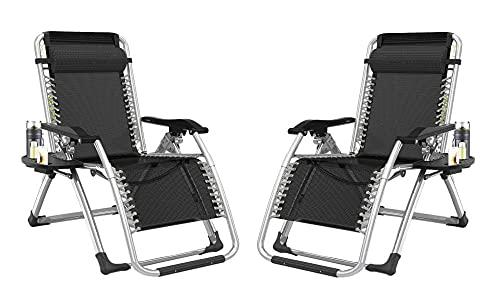 Juego de 2 sillas de jardín con taza y soporte para teléfono – cubierta plegable reclinable de gravedad cero silla de exterior plegable reclinable de gravedad cero silla al aire libre