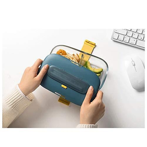 Fiambrera El almuerzo escolar rectángulo de cristal Microondas Bento Box Caja de almacenamiento de alimentos contenedores de alimentos con compartimientos (Color : Green)