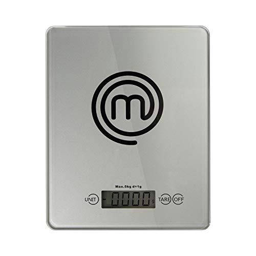 MasterChef 525489 Balanza de cocina, Gran superficie, Cristal templado de seguridad 4 mm, Botón de encendido y apagado automático, Sensores de alto rendimiento, Glass