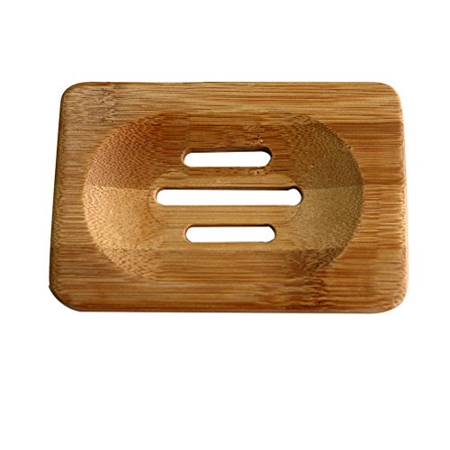 amazing-rading(TM) Seifenhalter Vogue Trapezform Natürliches Holz Seifenbox Badeseife Halter - 3, Bambus
