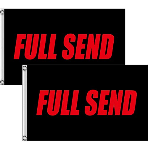 Xgood 2 Pieces 3x5 Feet Full Send Flag Banner Black American Flag Banner Nelk Nelkboys Flags Photography Backdrop with 2 Brass Grommets for Party Decorations (Red)