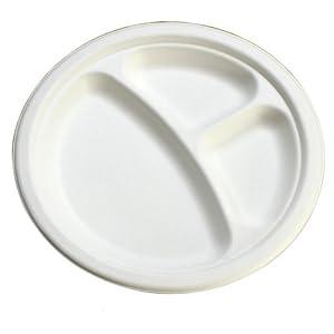 使い捨て 丈夫な紙皿 エコでオシャレな eモールド 仕切り付きプレート 23cm P012 100枚入