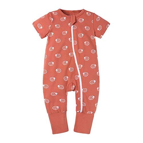 Xmiral Kleinkind Kinder Unisex Reißverschluss Cartoon Strampler Jungen Mädchen Kurzarm Overall Neugeborenen Schlafanzug Nachtwäsche(Orange,6-12 Monate)
