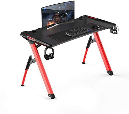 soges Gaming Tisch Gaming Schreibtisch Computertisch Desk Gamer Pro Tisch mit LED-Leuchten Ergonomischer PC-Schreibtisch mit XL-Mauspad,120CM*64CM,Schwarz & Rote Beine