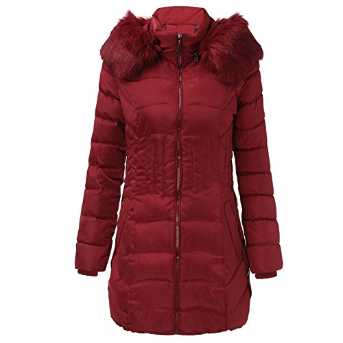 KUDICO Winter Mantel Damen Fashion warme Lange Jacke Baumwolle Slim Parka Trench Outwear Sweatshirt über Tops, Angebote!(Weinrot, EU-38/CN-XL)