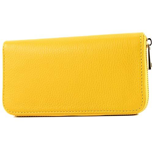 modamoda de - P02 - ital. Damen Portemonnaie Echtleder lang, Farbe:P02 Gelb
