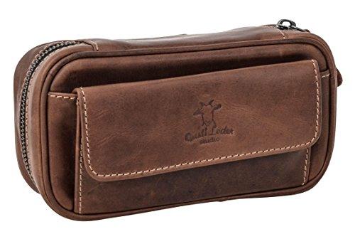 Gusti Leder studio'Diego' borsetta porta pipa per 3 pipe per tabacco con vano porta tabacco stoffa interna di gomma naturale marrone scuro 2T5-22-6