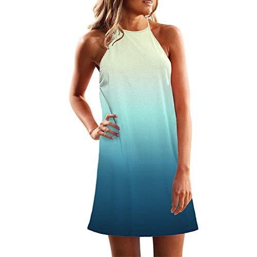 Shinehua zomerjurk voor dames, casual, halsketting, mouwloos, strand, swing jurk, vrijetijdsjurk, strandjurk, bohemian mini-jurk, elegante knielang, feestelijke jurk open rug Large blauw (sky)