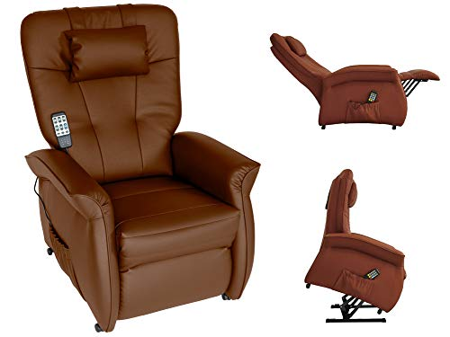 THRONER EXKLUSIV Massagesessel mit elektr. Aufstehhilfe 5-Zonen-Massage in Sherry. TV-Sessel mit Liegefunktion Wellness-Massagen Wärmetherapie und Fernbedienung. Qualität aus Deutschland
