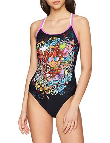Speedo Hippy Chick Dreams Placement Double Crossback, Costume da Bagno Donna, Hippychick Blk/Bri Zest, Taglia 32