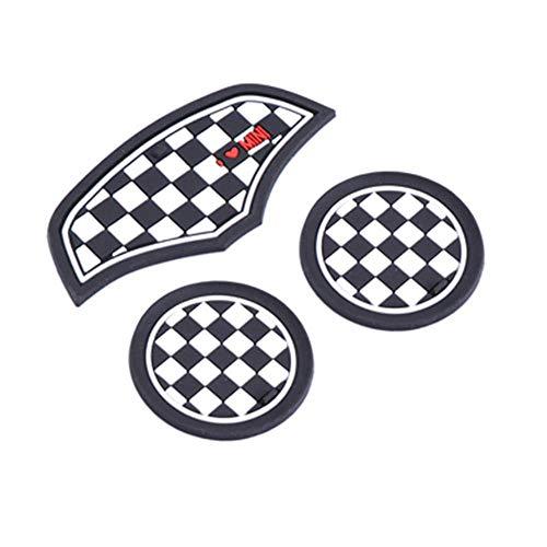 xiaobobo 3 STÜCKE Union Jack Auto Tasse Kaffee Kissen Lagerung Groove Coaster Auto rutschfeste Matte Pad Für Mini Cooper Clubman F55 F56 Zubehör, Checker