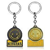 American Rock Nirvana llavero creativo coche llavero mochila colgante teléfono móvil pareja regalo familiar 2 piezas