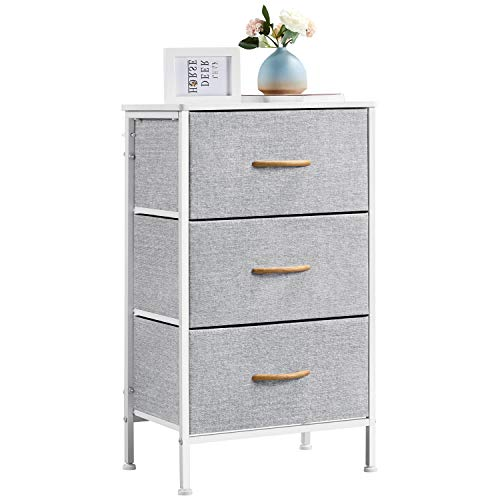 Yaheetech Vertical 3-Tier Fabric Dressing Drawer Clothes Storage Organizer Unit Narrow Bedside Table with Metal Frame for Living Room, Bedroom, Dorm Room, Bathroom, White and Light Gray, 45x30x76cm