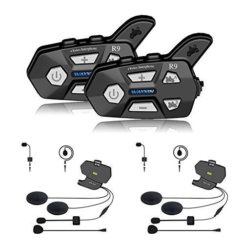 LLMXFC Casco Auriculares R9 2pcs intercomunicador de Bluetooth for la Motocicleta 4 Jinetes Hablando Misma Hora intercomunicador de Bluetooth FM 4 Jinetes 1500M (Color : Dockingmicrophone)