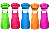 Tamicy 10 Pieces Kids Chef Hat Apron Set-Waterproof and Adjustable Child Aprons with 2 Pockets Kitchen Bib Aprons for Girls Boys Cooking Baking Painting Gardening (Rose red,Green,Blue,Orange,Purple)