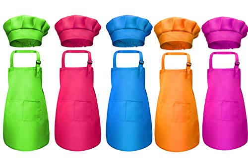 Tamicy 10 Pieces Kids Chef Hat and Apron Set - Child Kitchen Bib Aprons with Pockets Girls Boys Chef Hats for Cooking Baking Gardening Painting Wear (Rose Red,Green,Blue,Orange,Purple)