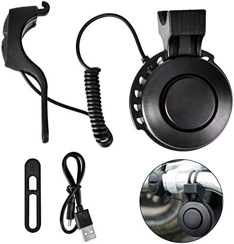 Queta Fahrradklingel Einstellbare Lautstärke Elektrische Fahrrad Klingel USB Wiederaufladbare Horn Glocke für MTB/Rennrad/BMX