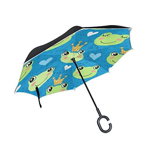 Rode C-vormige handgreep kikker en kronen schattige paraplu, winddicht, uitbreidbaar, dubbellaags, omgekeerd voor outdoor-activiteiten.