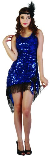 KULTFAKTOR GmbH Sexy Charleston-Kleid Damenkostüm 20er Jahre blau-schwarz M/L