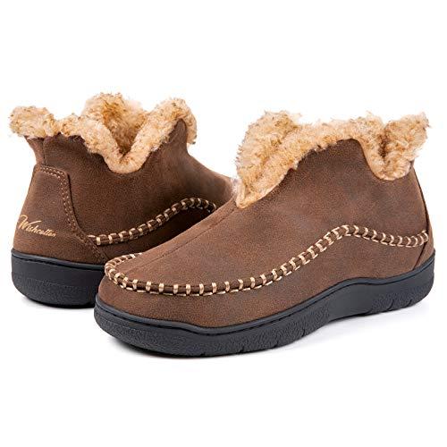 Wishcotton Men's Microsuede Fuzzy Warm Fleece Lining Moccasin Slippers Cozy Memory Foam Indoor Outdoor House Shoes Coffee,9 M US