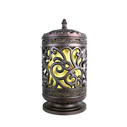 KMYX Vintage korte cilindrische LED-lantaarn klassiek Chinees model gesneden aluminium gegoten kamer verlichting patio lamp