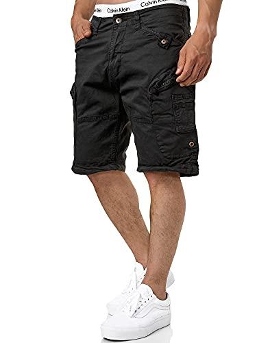 Indicode Herren Bosa Cargo Shorts mit 7 Taschen aus 98% Baumwolle   Kurze Hose Sommer Stretch Herrenshorts Freizeitshorts Men Short Pants Cargohose Bermuda Sommerhose kurz für Männer Black XL