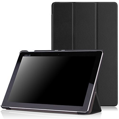 MoKo Zenpad 10 Hülle - Ultra Slim PU Leder Tasche Smart Case mit Auto Sleep / Wake up Funktion / Standfunktion für ASUS Zenpad 10 Z300M / Z300C / Z300CNL / Z300CG / Z300CL 10.1 Zoll Tablet, Schwarz