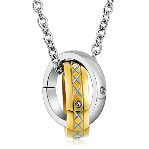 KnBob Pendant Necklace Gold Interlocking Ring Cubic Zirconia Necklace Stainless Steel for Women