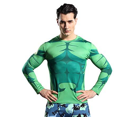 GYM GALA The Incredible Hulk - Camiseta de compresión deportiva para hombre -  Verde -  3X-Large