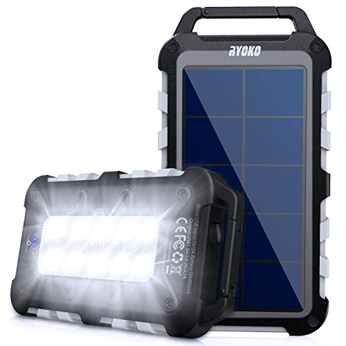 Solar Power Bank 10000mAh, Ryoko Portable Power Charger with Carabiner IPX4 Waterproof Battery Pack Solar Charger for Camping with 10 LED Emergency Flashlights and 2 USB Outputs for Cell Phone(Gray)