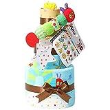 はらぺこあおむし おむつケーキ 出産祝い 名入れ刺繍 3段 Sassy ビタット Bitatto 身長計付き バスタオル ブルー 男の子 オムツケーキ ERIC CARLE エリックカール ムーニーテープタイプMサイズ