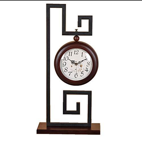 zunruishop Reloj de Escritorio Silencioso Reloj Decoración Cuarzo eléctrico Mute analógico for Sala de Estar Cocina Dormitorio Reloj Chino Reloj de Hierro Forjado Reloj