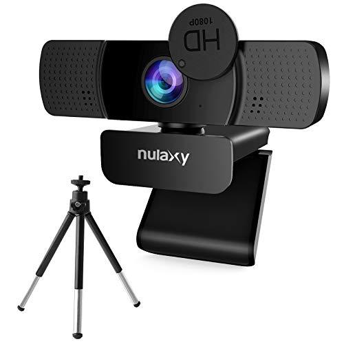 NULAXY HD 1080P Webcam, USB Webcam mit Mikrofon, Datenschutz Abdeckung und Stativ für Videoanrufe, Online-Unterricht, Konferenz, Funktioniert mit Skype, Zoom, FaceTime, Hangouts, PC/Laptop - Schwarz