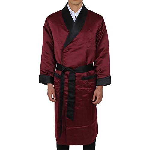 Duke & Digham Men's Long Heavyweight Satin Robe Burgundy XX-Large