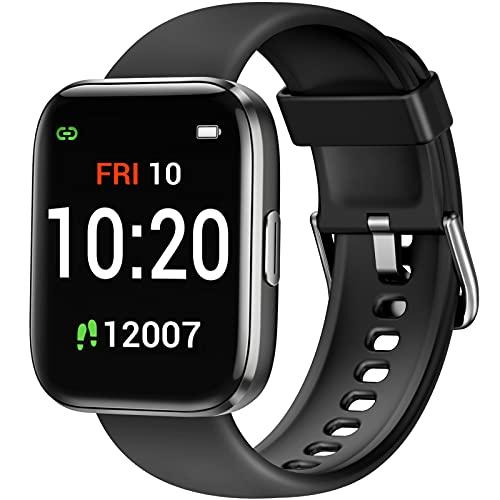 Letsfit IW1 Smartwatch, 1.4 Zoll Voll Touchscreen Fitnessuhr mit Schrittzähler, Fitness Tracker IP68 Wasserdicht Sportuhr Smart Watch mit Pulsuhr und Blutsauerstoff-Monitor für Damen Herren