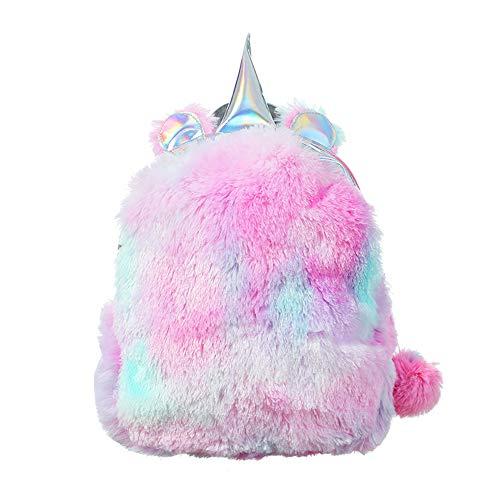 Topcosplay Plüsch Einhorn Rucksack Mädchen, Mini Niedlich Regenbogen Rucksack für Kinder Damen Schultasche Reisetasche (Rosa)