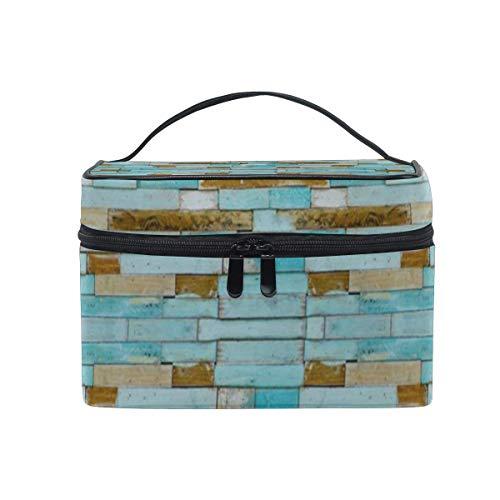 Trousse de maquillage Sac à cosmétiques en bois bleu Grand sac de toilette portable pour les femmes/filles