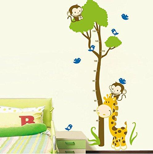Toise murale autocollante Motif girafe/singe en vinyle Repositionnable Idéale pour chambre d'enfant